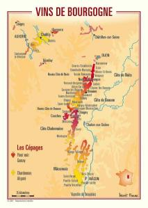 Map of Burgundy wines